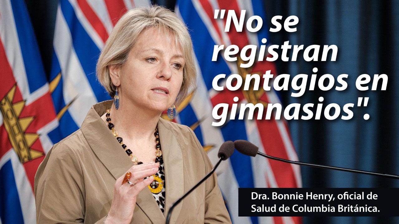 Una funcionaria de Columbia Británica, en Canadá, reconoció que no hay contagios de Covid-19 en gimnasios