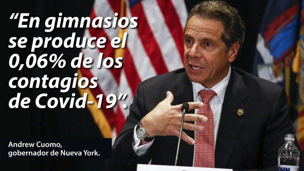 En el estado de Nueva York, las infecciones de Covid-19 en el ámbito de gimnasios representan el 0,06% del total de contagios