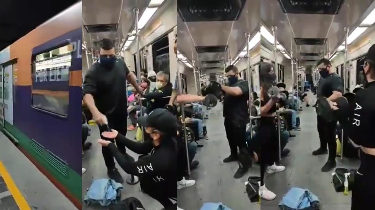 En Monterrey, un grupo de propietarios de gimnasios se manifestó haciendo ejercicios en el metro